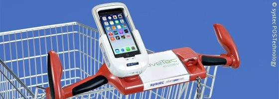 Foto: Smartphone Dockingstation an Einkaufswagengriff; © systec POS-Technology
