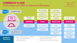 Grafik: Commerce Cloud, Online-Shop und CRM im Salesforce-Ökosystem; copyright: T-Systems