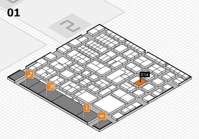 EuroShop 2017 hall map (Hall 1): stand E14