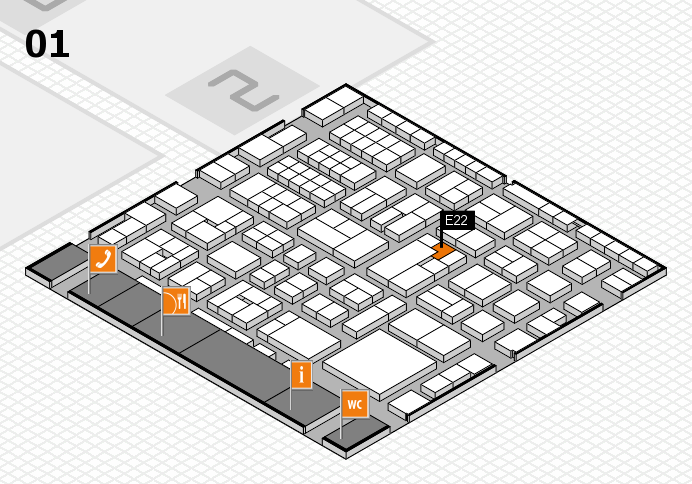 EuroShop 2017 hall map (Hall 1): stand E22
