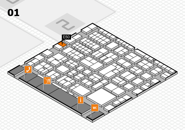 EuroShop 2017 hall map (Hall 1): stand E50