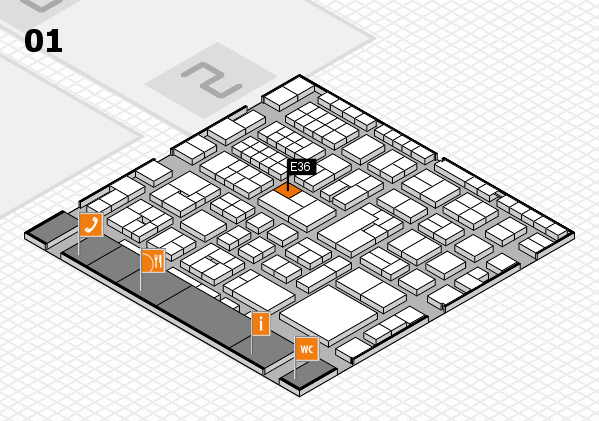 EuroShop 2017 hall map (Hall 1): stand E36