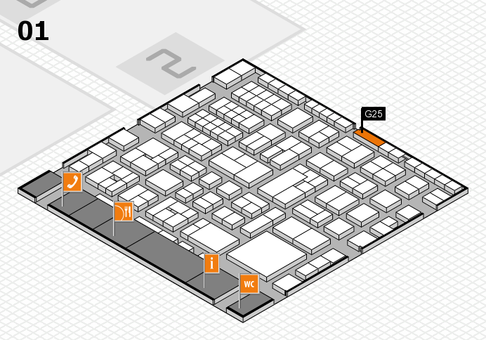 EuroShop 2017 hall map (Hall 1): stand G25