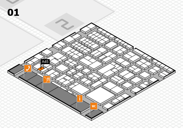 EuroShop 2017 hall map (Hall 1): stand A45