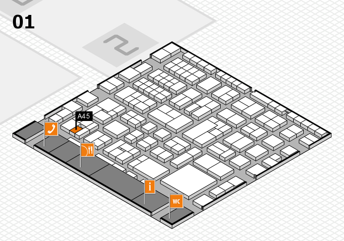 EuroShop 2017 hall map (Hall 1): stand A45