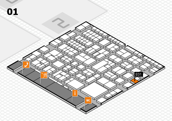 EuroShop 2017 hall map (Hall 1): stand E01