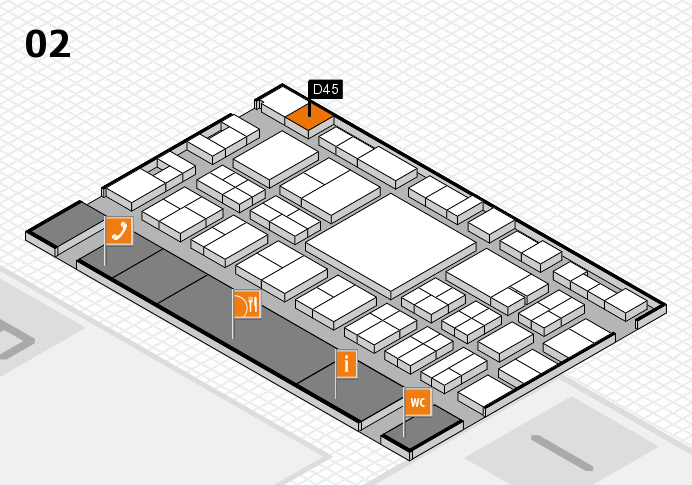 EuroShop 2017 hall map (Hall 2): stand D45
