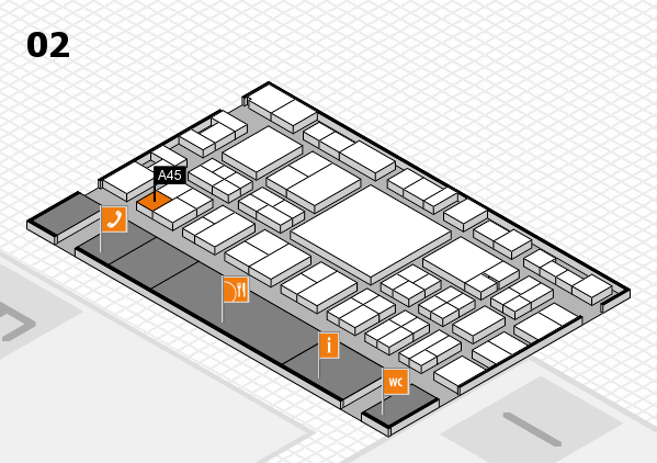 EuroShop 2017 hall map (Hall 2): stand A45