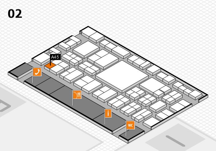 EuroShop 2017 hall map (Hall 2): stand A45