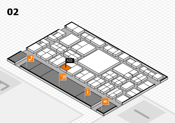EuroShop 2017 hall map (Hall 2): stand A33