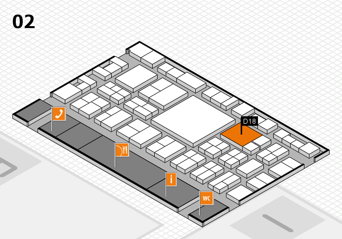 EuroShop 2017 hall map (Hall 2): stand D18