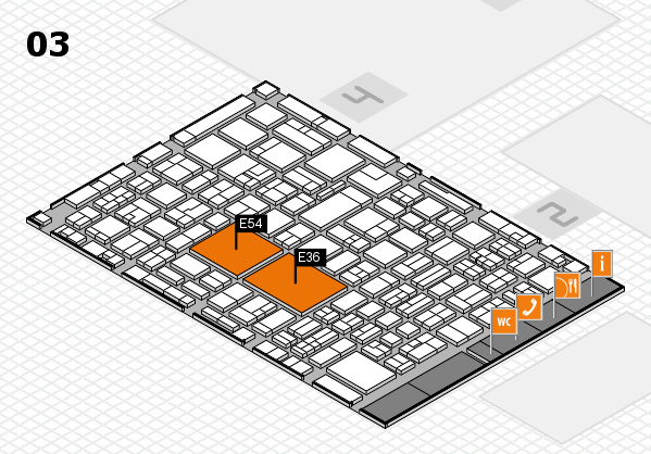 EuroShop 2017 hall map (Hall 3): stand E36, stand E54
