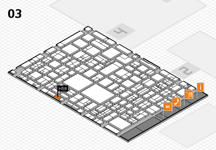 EuroShop 2017 hall map (Hall 3): stand H58