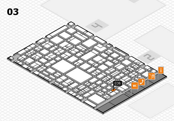 EuroShop 2017 hall map (Hall 3): stand E08