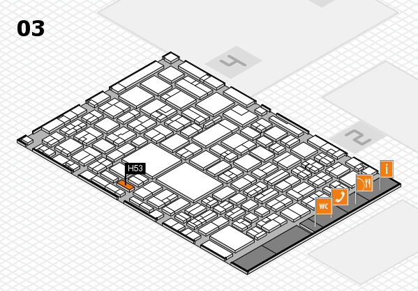 EuroShop 2017 hall map (Hall 3): stand H53