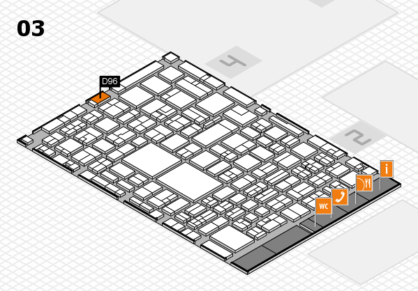 EuroShop 2017 hall map (Hall 3): stand D96