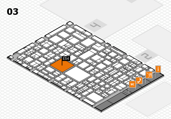 EuroShop 2017 hall map (Hall 3): stand E54