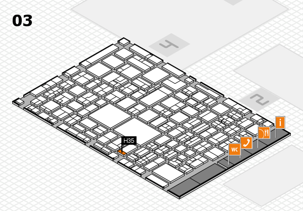 EuroShop 2017 hall map (Hall 3): stand H35
