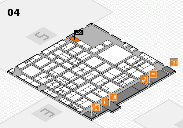 EuroShop 2017 hall map (Hall 4): stand E55