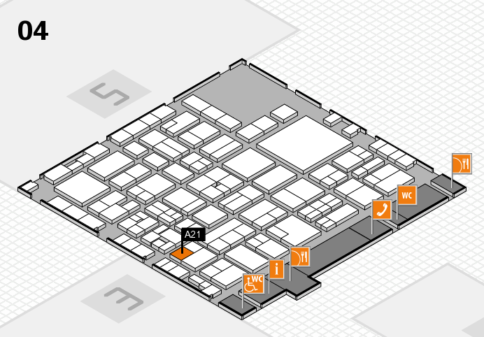 EuroShop 2017 hall map (Hall 4): stand A21