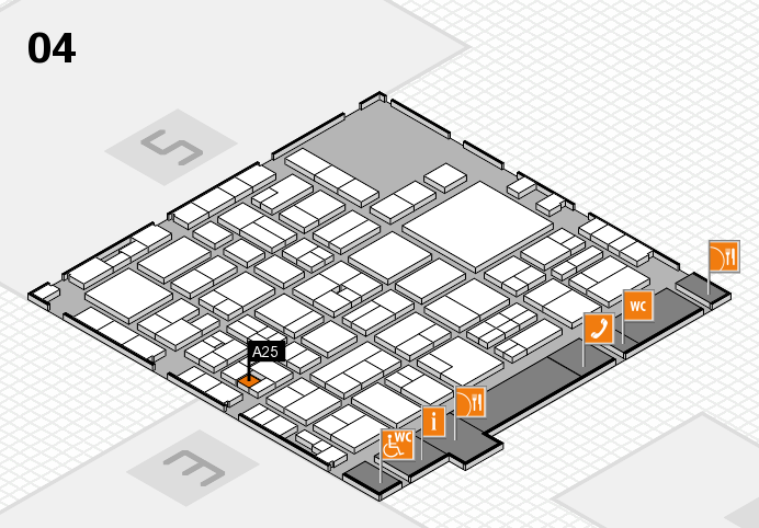 EuroShop 2017 hall map (Hall 4): stand A25