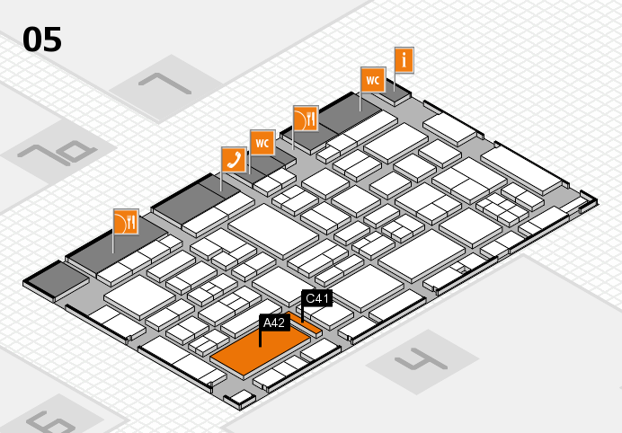 EuroShop 2017 hall map (Hall 5): stand A42, stand C41