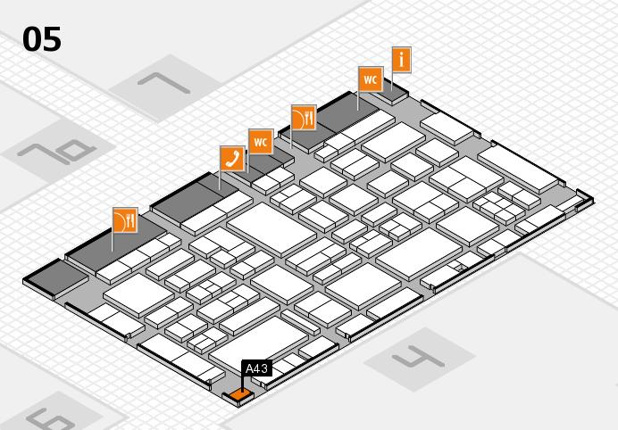EuroShop 2017 hall map (Hall 5): stand A43