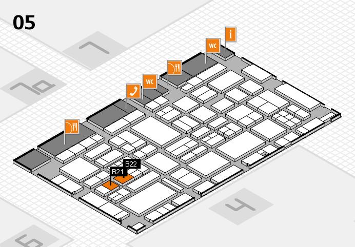 EuroShop 2017 hall map (Hall 5): stand B21, stand B22