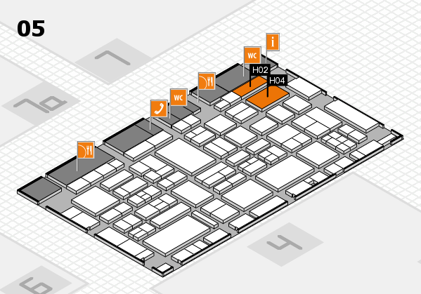 EuroShop 2017 hall map (Hall 5): stand H02, stand H04