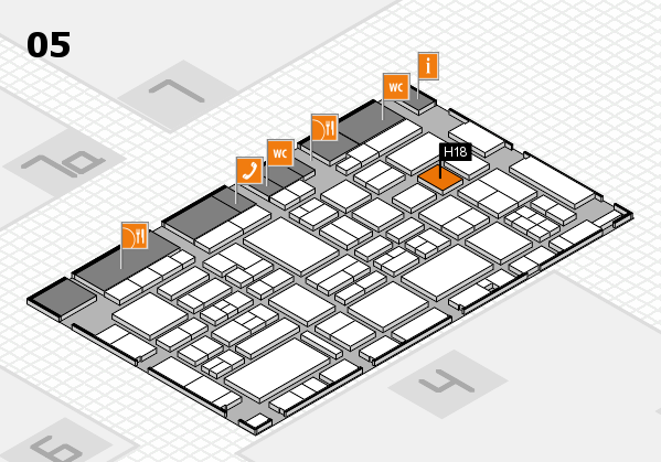 EuroShop 2017 hall map (Hall 5): stand H18