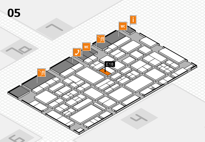 EuroShop 2017 hall map (Hall 5): stand E18