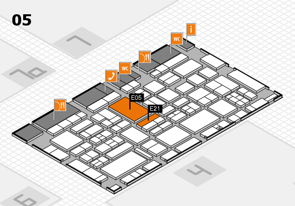 EuroShop 2017 hall map (Hall 5): stand E05, stand E21