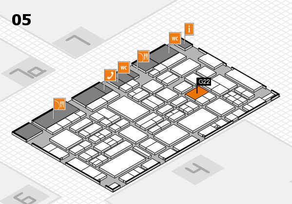 EuroShop 2017 hall map (Hall 5): stand G22