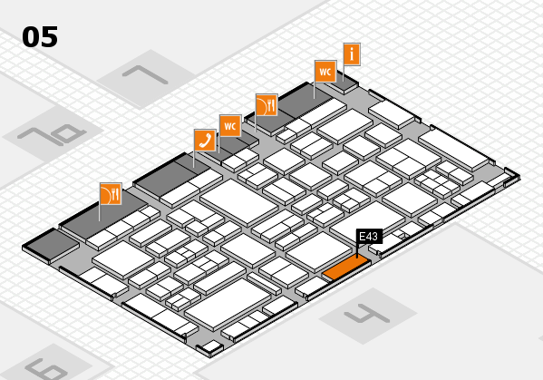 EuroShop 2017 hall map (Hall 5): stand E43