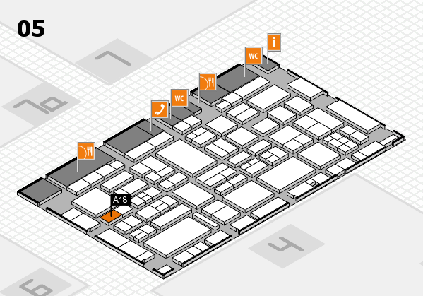 EuroShop 2017 hall map (Hall 5): stand A18