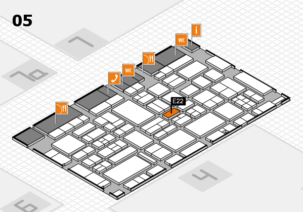 EuroShop 2017 hall map (Hall 5): stand E22