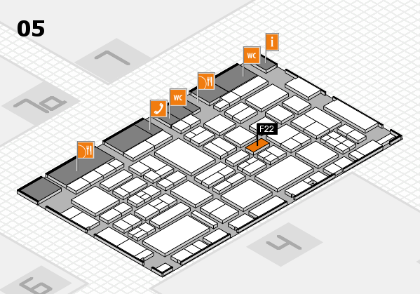 EuroShop 2017 hall map (Hall 5): stand F22