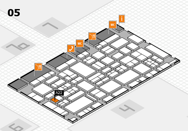 EuroShop 2017 hall map (Hall 5): stand A22