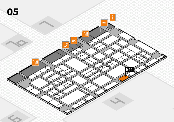 EuroShop 2017 hall map (Hall 5): stand E44