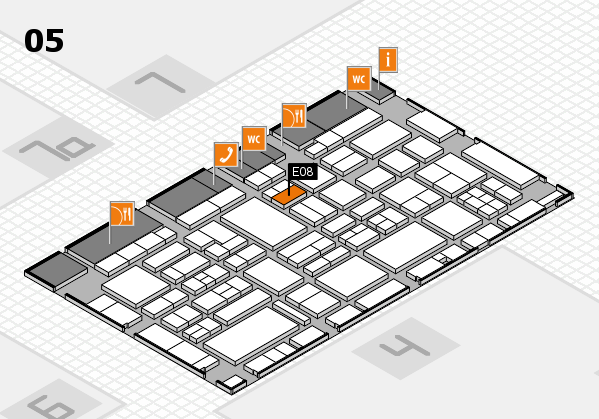 EuroShop 2017 hall map (Hall 5): stand E08