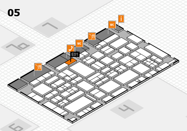 EuroShop 2017 hall map (Hall 5): stand E01