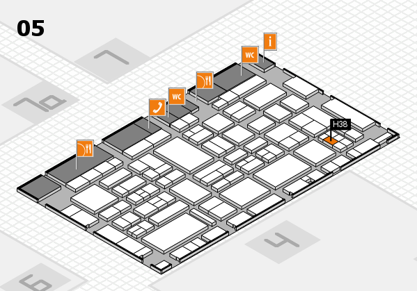 EuroShop 2017 hall map (Hall 5): stand H38