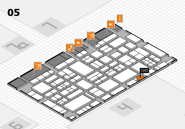 EuroShop 2017 hall map (Hall 5): stand G43