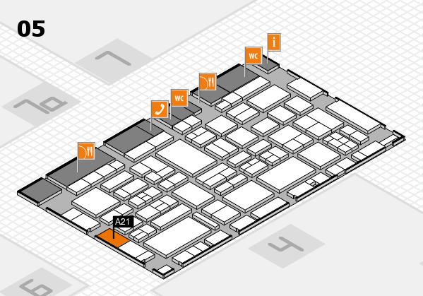 EuroShop 2017 hall map (Hall 5): stand A21