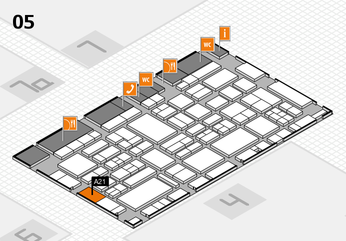 EuroShop 2017 hall map (Hall 5): stand A21