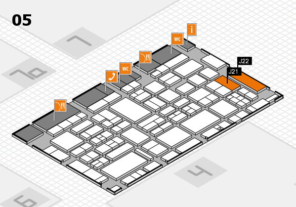 EuroShop 2017 hall map (Hall 5): stand J21, stand J22