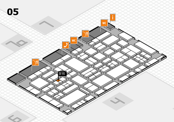 EuroShop 2017 hall map (Hall 5): stand B16