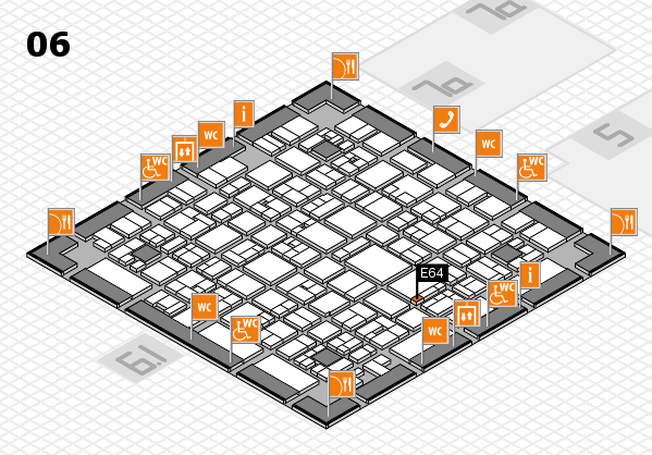 EuroShop 2017 hall map (Hall 6): stand E64