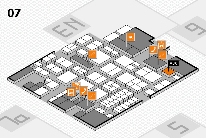 EuroShop 2017 hall map (Hall 7): stand A36