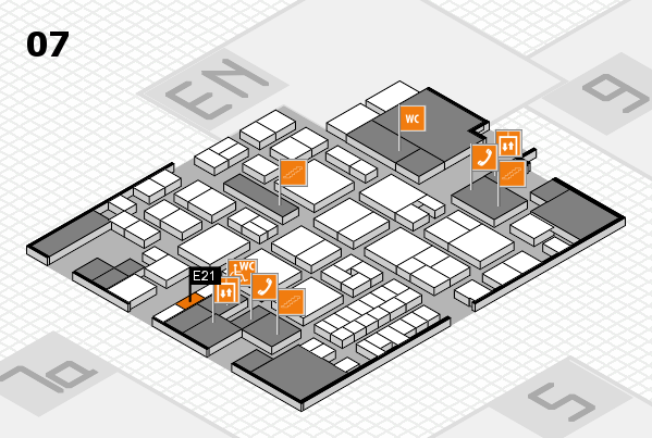 EuroShop 2017 hall map (Hall 7): stand E21